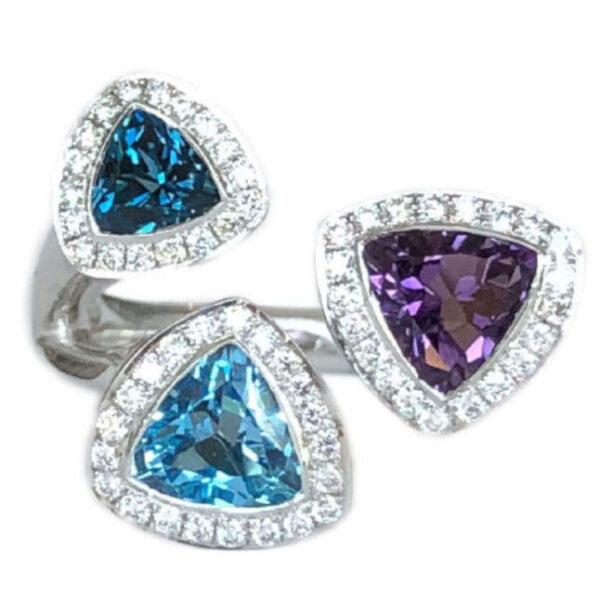 trillion cut amethyst and blue topaz ring with diamond halos
