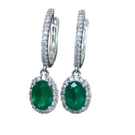 oval emerald lever back earrings 1.58 carat with diamond halo