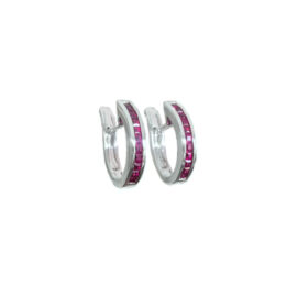 23089 re2412w 14kt white gold princess cut ruby .68ctw channel set hoop earrings
