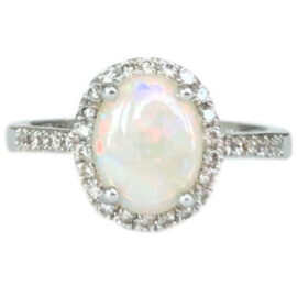 oval opal 1.15 carat ring with diamond halo