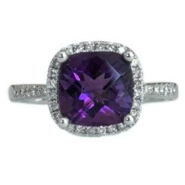 cushion cut amethyst 2.00 carat ring with diamond halo