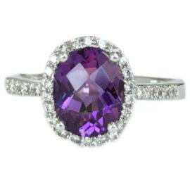 oval amethyst 1.55 carat ring with diamond halo