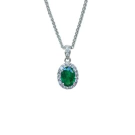 23720 ep10050wt 14kt white gold oval emerald .65ct & dia .16ctw pendant
