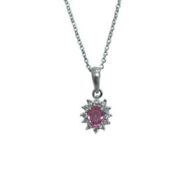 24021 psp9316 14kt white gold oval pink sapphire .42ct & dia .16ctw halo pendant