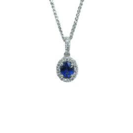 24024 sp13035wt 14kt white gold oval sapphire .52ct & dia .11ctw halo pendant