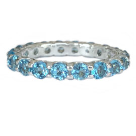 blue topaz 2.10 carats eternity band