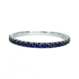 24455 14kt white gold blue sapphire .33 ctw band