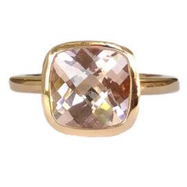 cushion cut morganite 2.49 carat bezel set ring