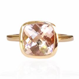 24533 14kt rose gold cushion cut morganite 2.49ct bezel set ring (1)