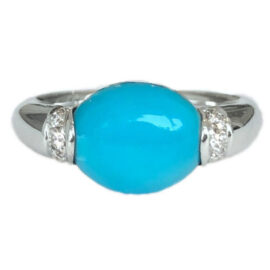 cabochon oval turquoise 3.01 carat ring with diamonds
