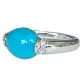turquoise 3.01 carat ring with diamonds