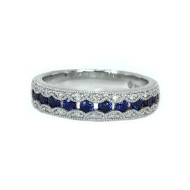 24568 27061s/wg 14kt white gold sapphire .47 ctw & dia .11 ctw milgrain band