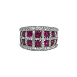 24577 r1541r/wg 14kt white gold ruby 1.99 ctw & dia 1.37 ctw grid band