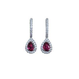 24580 er1394r/wg 14kt white gold ruby 1.00ctw & diamond .34ctw tear drop earrings