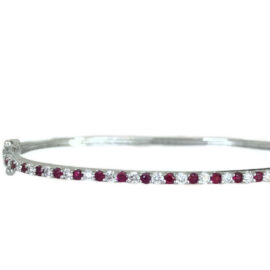 round ruby and diamond bangle