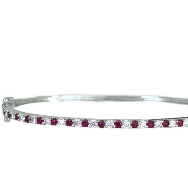 round ruby and diamond bangle