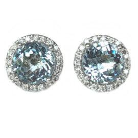 round aquamarine 2.42 carats earrings with diamond halo