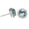 round aquamarine 2.42 carats earrings with diamond halo