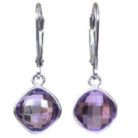 cushion cut amethyst 4.71 carats lever back earrings