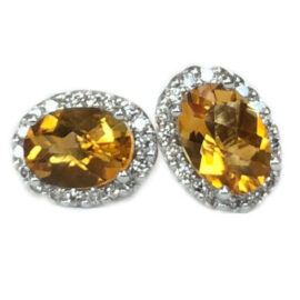 oval citrine 1.49 carats earrings with diamond halo