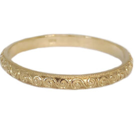gold engraved stackable band