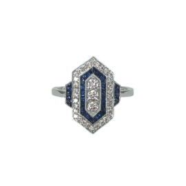 25049 tc3269 14kt white gold blue sapphire .53ctw & dia .37ctw vintage style ring