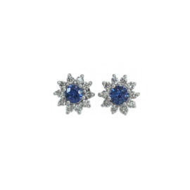 round blue sapphires surrounded by flower motif diamond halo
