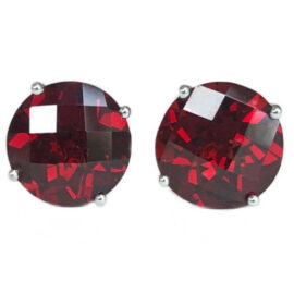 round garnet 4.46 carats earrings