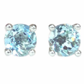 round aquamarine .83 carats earrings