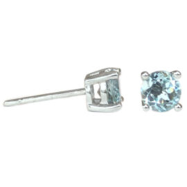 round aquamarine .83 carats four prong earrings