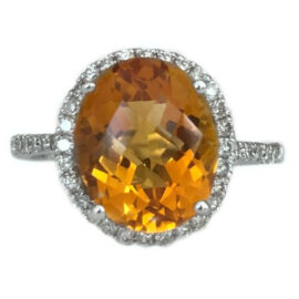 oval citrine 3.83 carat ring with diamond halo