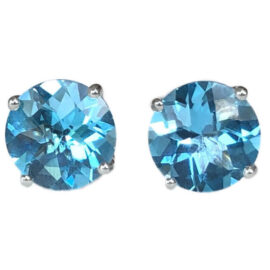 round blue topaz earrings 4.44 carats