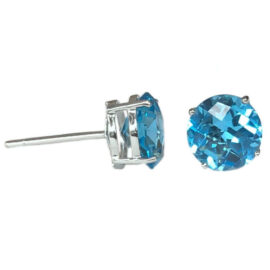 round blue topaz 4.44 carats earrings
