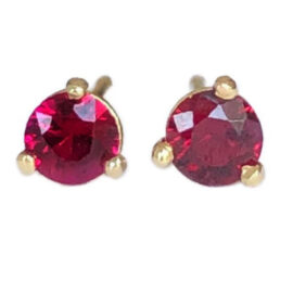 round ruby earrings .24 carats