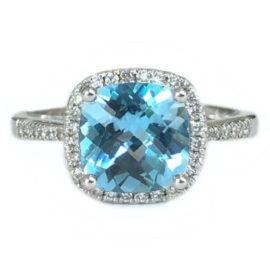 cushion cut blue topaz 2.28 carat ring with diamond halo