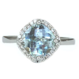 cushion cut aquamarine 1.72 carat with diamond halo