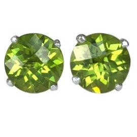 round peridot 3.18 carats earrings