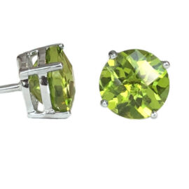 round peridot 3.18 carats stud earrings