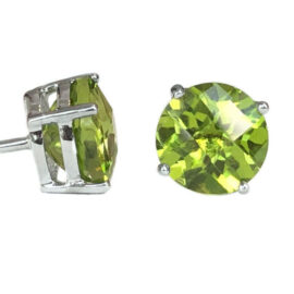 round peridot 4.60 carats stud earrings