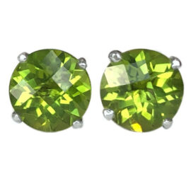 round peridot 4.60 carats earrings