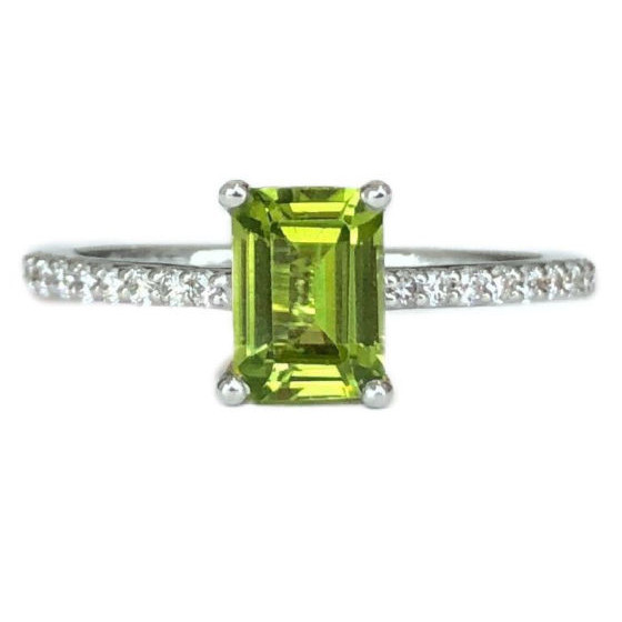 emerald cut peridot 1.08 carat ring with diamonds
