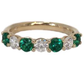 alternating emerald .65 carat and diamonds band