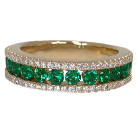 emerald .84 carats and diamond three row band