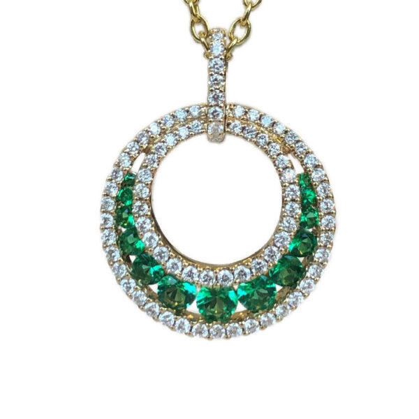 open circle emerald and diamond necklace