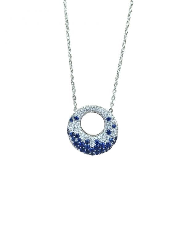 round sapphire .97 carats and diamond circle necklace