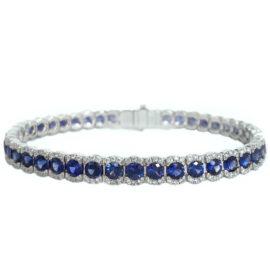 sapphire 10.82 carats and diamonds bracelet
