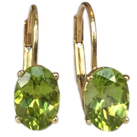 peridot lever back earrings