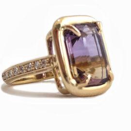 emerald cut ametrine 5.64 carat ring with diamonds