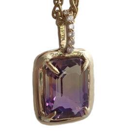 emerald cut ametrine and diamond pendant