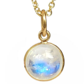 round rainbow moonstone bezel set pendant